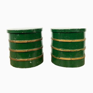Green Golden Bent Wood Storage Boxes, Set of 2