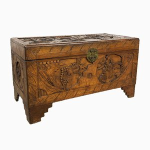 Vintage Chinese Carved Camphor Wood Chest