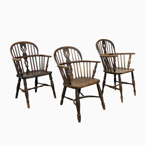 Antique English Windsor Armchairs, Set of 3