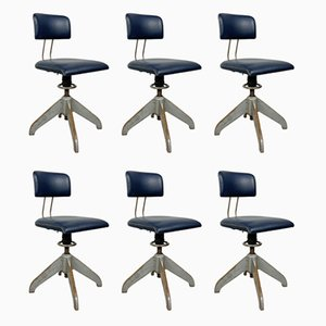 Vintage Industrial Factory Workshop Chairs by Bemefa, Set of 6