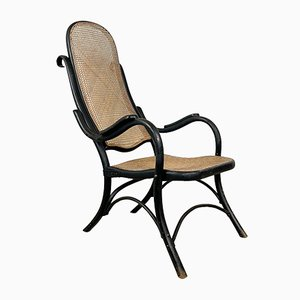 Vintage Black Bentwood And Cane Armchair