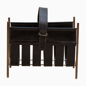 Leather Magazine Rack, 1960s