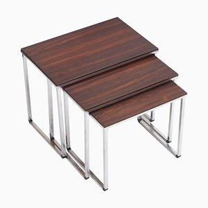 Rosewood Nesting Tables with Polished Metal Bases, 1970s