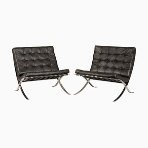 Barcelona Chairs by Ludwig Mies van der Rohe for Knoll, 1980s, Set of 2