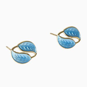 Blue Enamel Earrings from David Andersen, 1950s, Set of 2