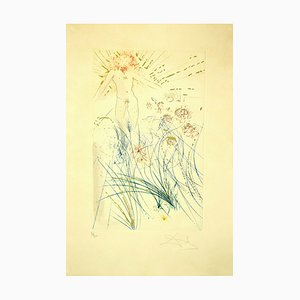 Salvador Dalí, The Beloved Feeds between the Lilies, Etching, 1971