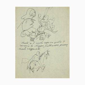 Mino Maccari, His Majesty, Pen Drawing, 1940