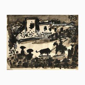 Gian Paolo Berto, Homage to Picasso, Mischtechnik auf Papier, 1975