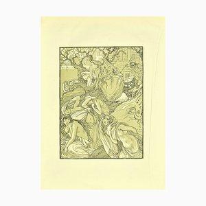 Ferdinand Bac, Die Flucht der Frauen, Lithographie, 1922