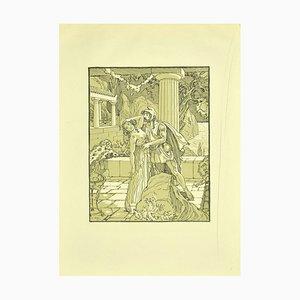 Ferdinand Bac, The Stolen Kiss, Lithograph, 1922