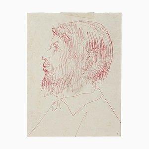 Eugène Berman, Portrait, Red Pen on Paper, 1950s