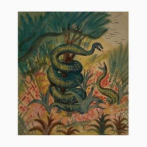 Jean-Raymond Delpech, Serpents dans la Forêt, Aquarelle, 1944