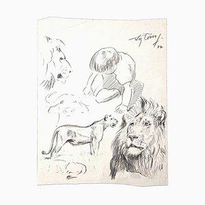 Wilhelm Lorenz, Studie eines Löwen, Bleistift auf Papier, spätes 20. Jahrhundert