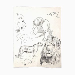 Wilhelm Lorenz, Study of a Lions, Pencil on Paper, Late 20th Century