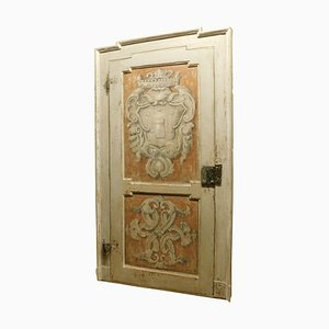 Antique Wooden Door Painted with Frame, 18th Century