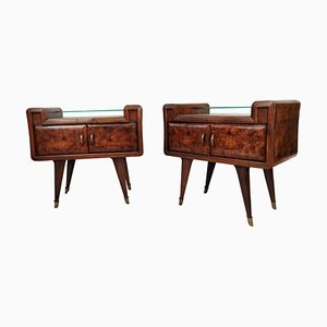 Art Deco Briar Walnut, Walnut, Brass & Glass Nightstands, 1950s, Set of 2