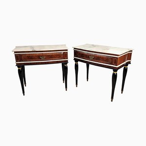 Art Deco Walnut & Marble Nightstands, 1950s, Set of 2