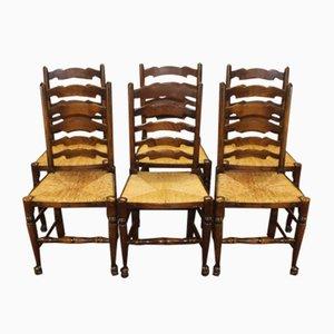 Antique Oak Ladder Back Dining Chairs, Set of 6