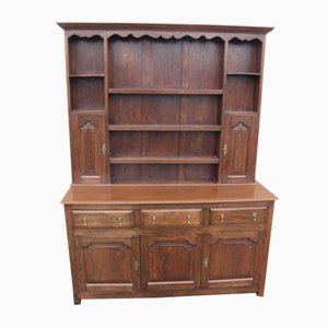 Large Oak Dresser with Display Rack, 1920s
