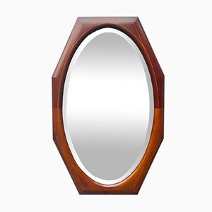 Vintage Wall Mirror Octagonal Teak Inlaid Frame