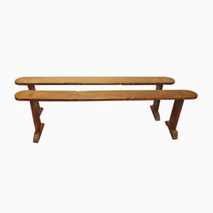 Antique French Elm Long Benches, Set of 2