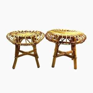 Bamboo Stools in the Style of Franco Albini, 1950s, Set of 2
