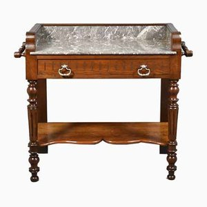 French Oak Washstand with Variegated Grey and White Marble Top, 1930s