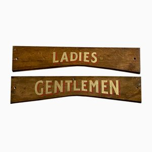 Vintage Ladies and Gentlemen Wooden Signs, Set of 2