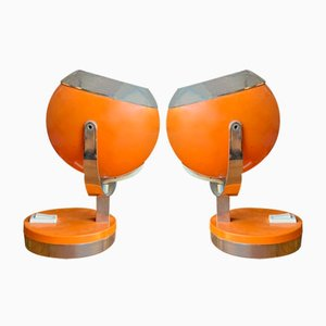 Vintage Italian Orange Adjustable Table Lamps, Set of 2