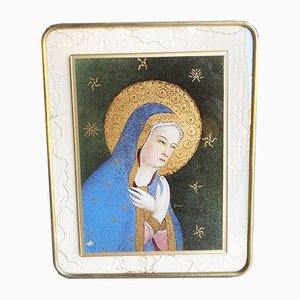 Vintage Brass Frame with Religious Painting on Transparent Glass, 1950