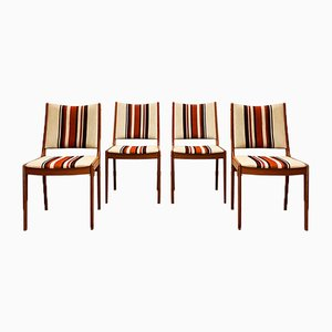 Mid-century Teak Chairs with Striped Upholstery by Uldum, Denmark, 1960s, Set of 4