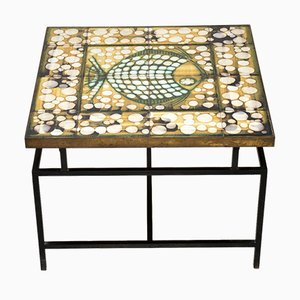 Tiled Top Brass Coffee Table, 1960s