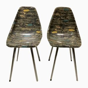 Fibreglass Side Chairs by René Jean Caillette, 1950s, Set of 2
