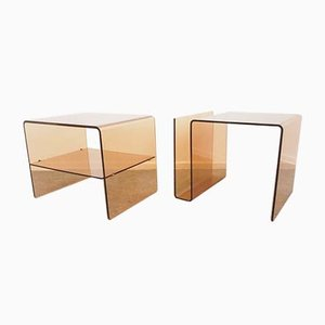 Vintage Smoked Lucite Perspex Side Tables, Set of 2