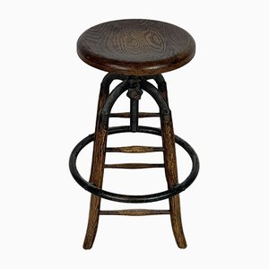 Vintage Draughtsman's Wood and Metal Stool, 1940s
