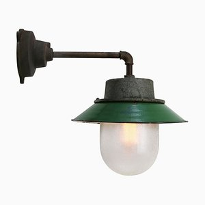Green Enamel Vintage Industrial Frosted Glass Sconce
