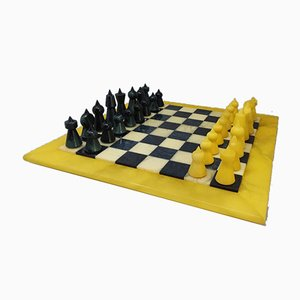 Handgemachtes italienisches Schachspiel in Blau & Beige in Volterra Alabaster von Chiellini, 1960er, 33er Set