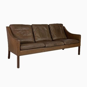 Model 2209 3 Seater Brown Leather Sofa by Børge Mogensen for Fredericia, 1960s