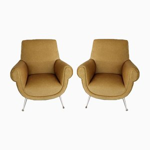 Italian Mid Century Armchairs in Velvet with Brass Feet by Gigi Radice for Minotti, 1960s, Set of 2