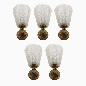 Reticello Murano Glass Wall Lights from Venini, Italy, 1950s, Set of 5