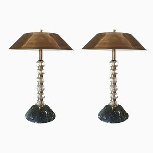 Murano Glass and Brass Table Lamps, Italy, 1960s, Set of 2