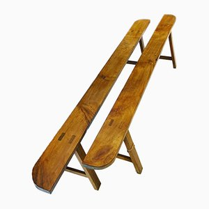 Antique French Fruitwood Trestle Benches, Set of 2