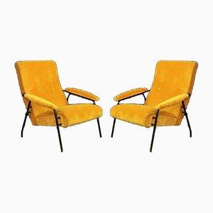Italian Mid-century Yellow Velvet and Metal Armchairs, 1960s, Set of 2