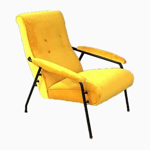Italian Mid-century Yellow Velvet and Metal Armchair, 1960s