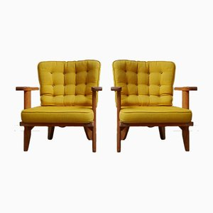 Mid-Century Oak Armchairs by Guillerme et Chambron, 1960s, Set of 2
