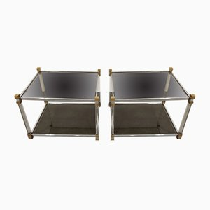 Vintage Lucite and Brass Side Tables from Belgo Chrome / Dewulf Selection, 1970s, Set of 2