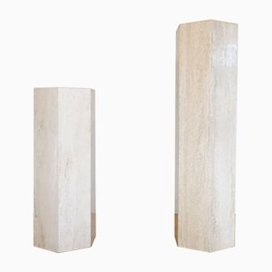Travertine Pedestal, Italy, 1970s, Set of 2