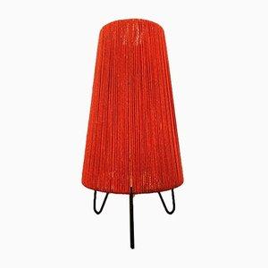 Rote Bast Dreibein Tischlampe, 1950er