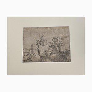 Roman Ruins, Pencil On Cardboard, 18th Century