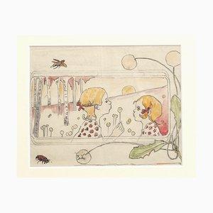 Filles, Crayon et Aquarelle, 1940s